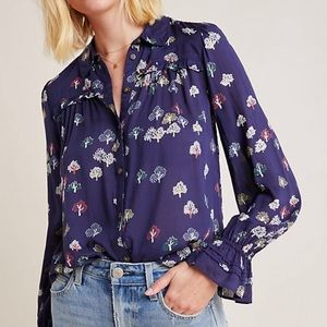 Anthropologie Maeve Fredericka Button Down Top